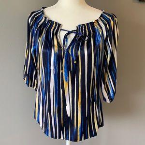 Cache Silk 3/4 Sleeve Blouse Blue Medium